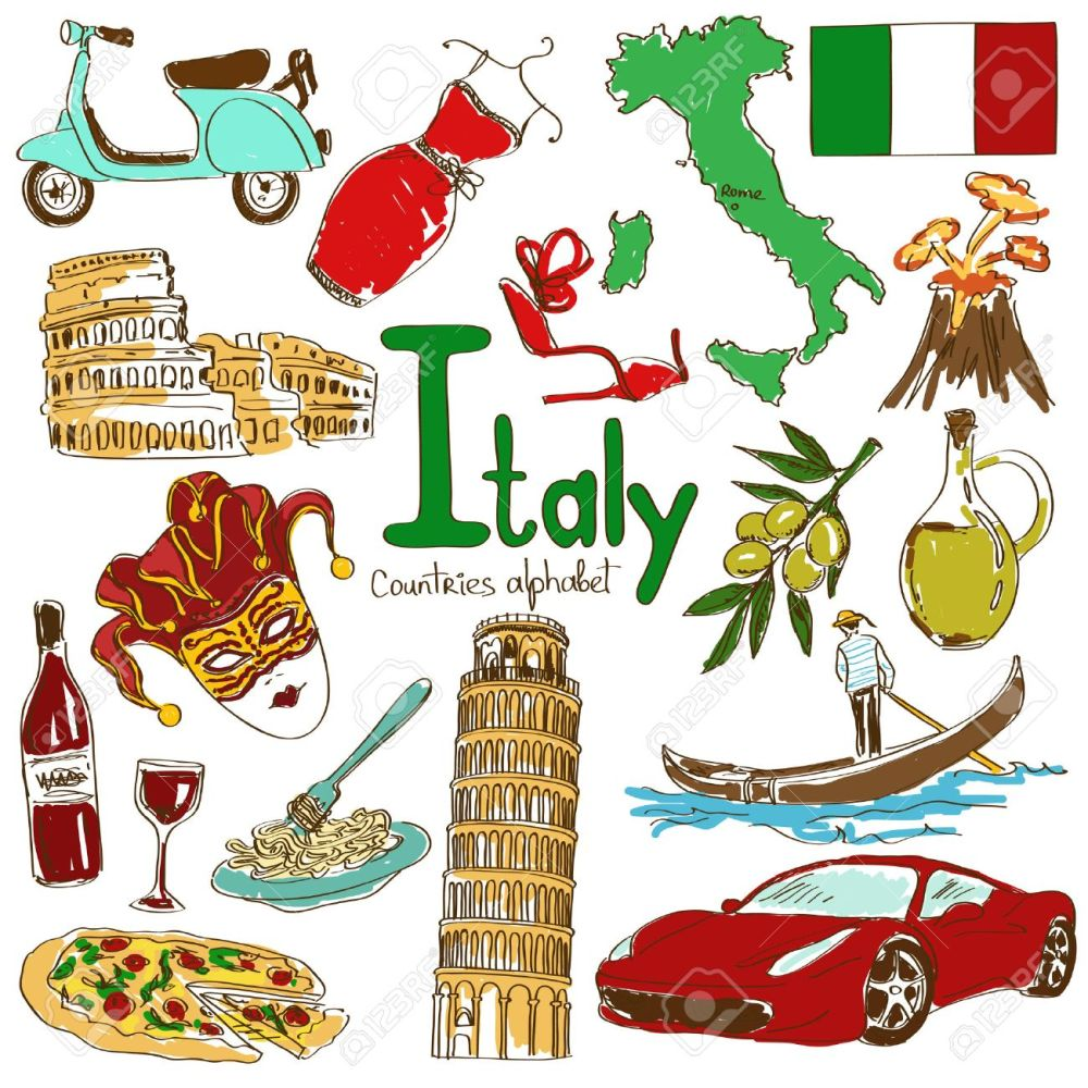 medium resolution of fun colorful sketch collection of italy icons countries alphabet illustration