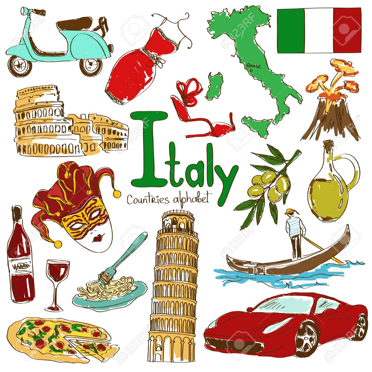 hight resolution of fun colorful sketch collection of italy icons countries alphabet illustration