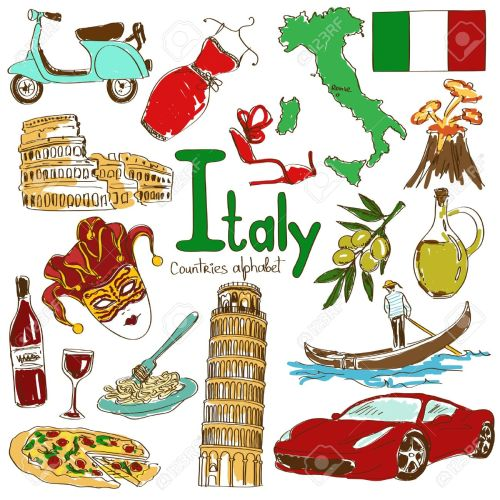 small resolution of fun colorful sketch collection of italy icons countries alphabet illustration