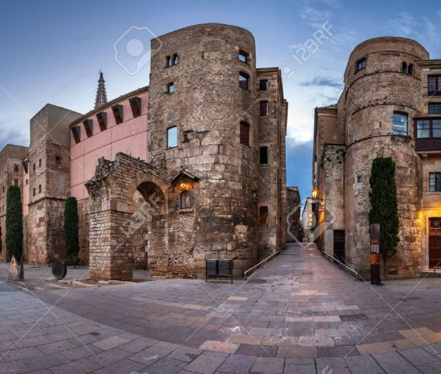 Panorama Of Ancient Roman Gate And Placa Nova In The Morning Barri Gothic Quarter