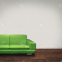 Dark Green Leather Sofa Snack Table Diy Modern In Room With Floor And White Walls Stock Photo 8518517