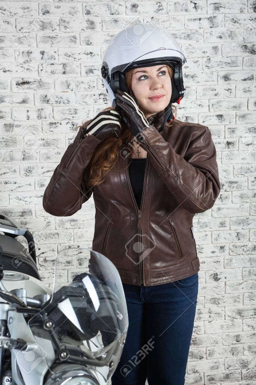 Why Should Wearing A Helmet When Motorcycling : should, wearing, helmet, motorcycling, Woman, Motorcyclist, Wearing, Helmet, Garage,.., Stock, Photo,, Picture, Royalty, Image., Image, 71876481.