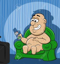 vector illustration of a couch potato watching tv illustration [ 1300 x 944 Pixel ]