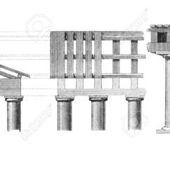 stock photo victorian engraving of a diagram of ancient classical columns digitally restored image from a mid 19th century encyclopaedia  [ 1300 x 694 Pixel ]
