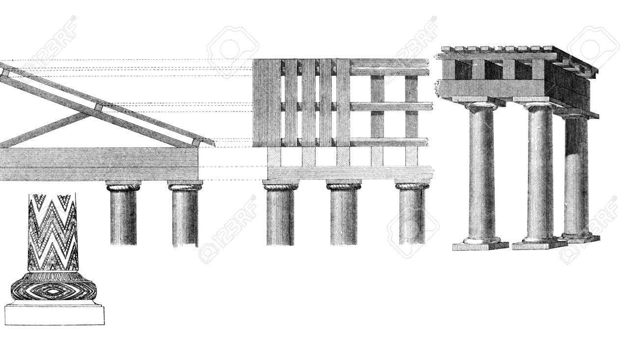 hight resolution of stock photo victorian engraving of a diagram of ancient classical columns digitally restored image from a mid 19th century encyclopaedia