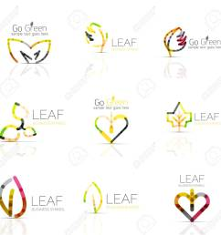 linear leaf abstract logo set connected multicolored segments of lines vector minimal wire business [ 1300 x 1265 Pixel ]