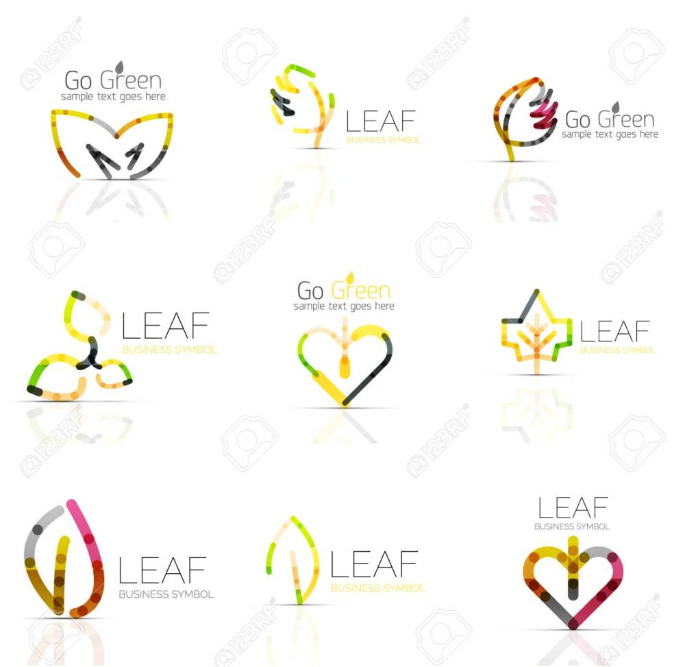 medium resolution of linear leaf abstract logo set connected multicolored segments of lines vector minimal wire business