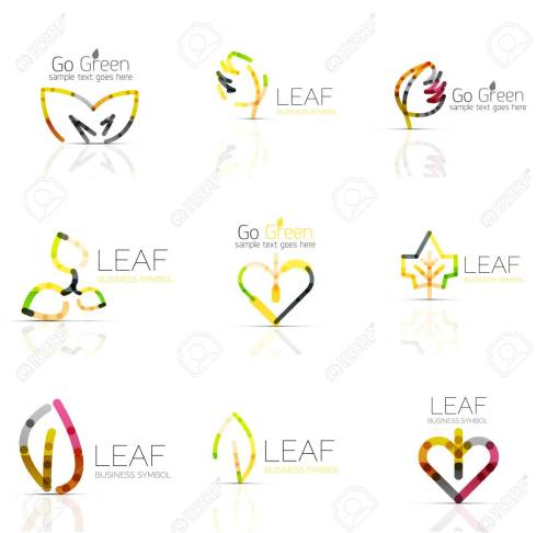 small resolution of linear leaf abstract logo set connected multicolored segments of lines vector minimal wire business