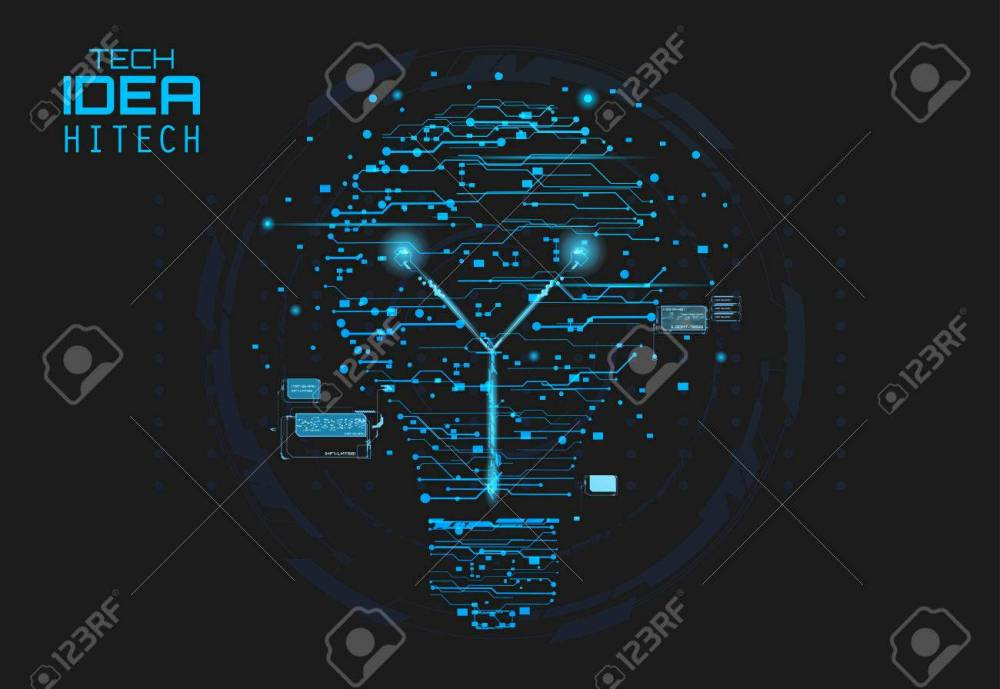 medium resolution of blue silhouette icon of a light bulb in form of printed circuit board flat style