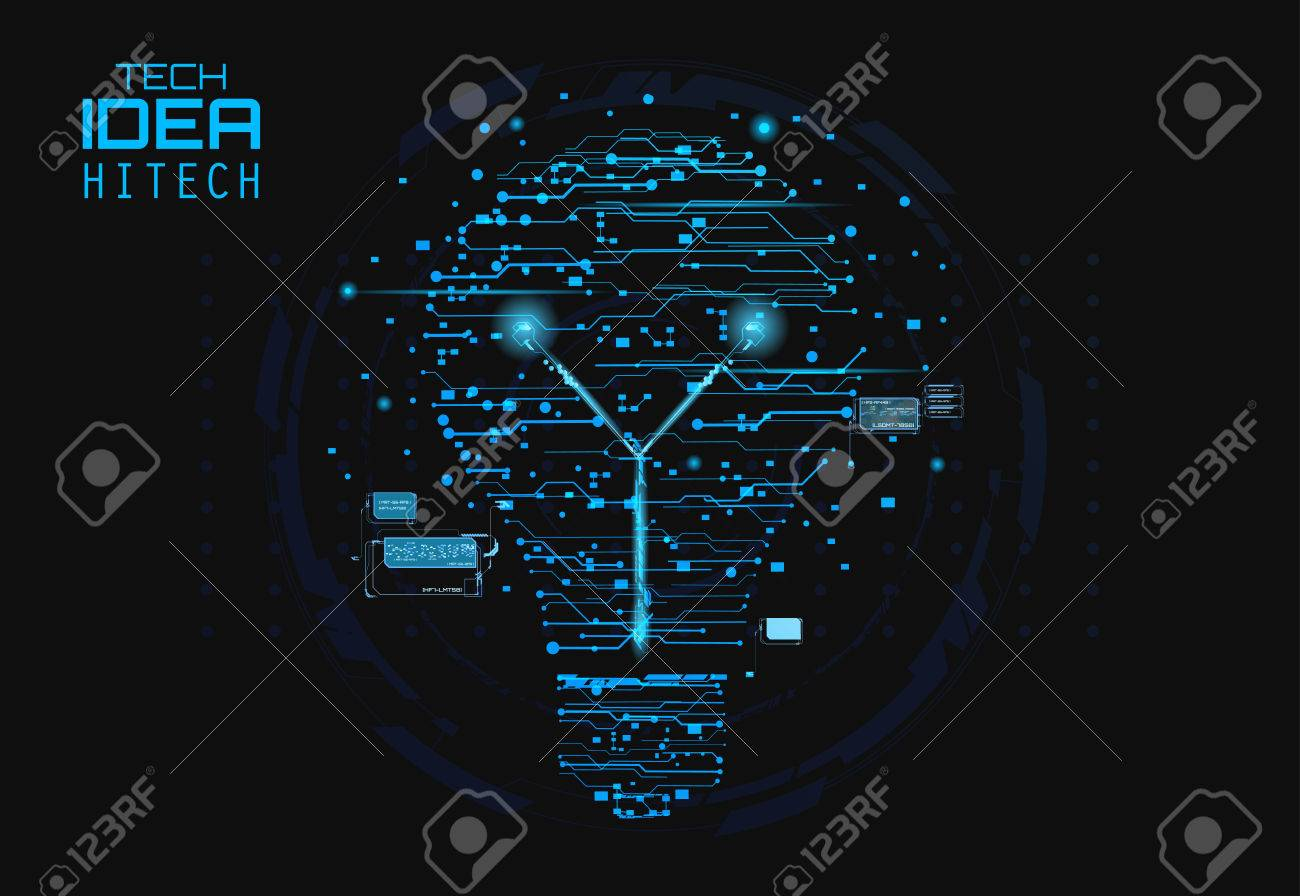 hight resolution of blue silhouette icon of a light bulb in form of printed circuit board flat style
