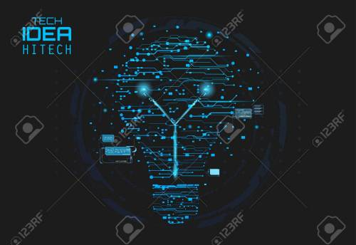 small resolution of blue silhouette icon of a light bulb in form of printed circuit board flat style