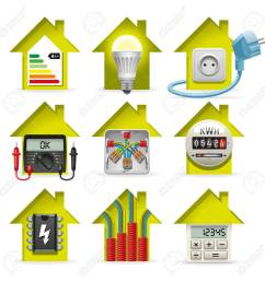 icons installation of electrical equipment and wiring in the house stock vector 34469721 [ 1300 x 1300 Pixel ]