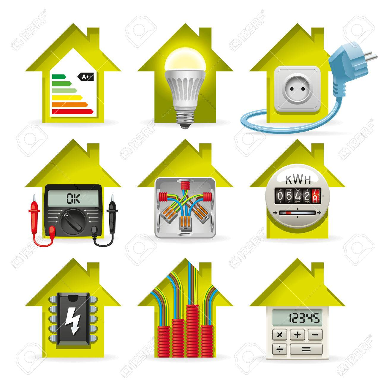 hight resolution of icons installation of electrical equipment and wiring in the house stock vector 34469721