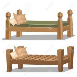 Simple Single Wooden Bed Two Elements Interior Design In Cartoon Royalty Free Cliparts Vectors And Stock Illustration Image 58485416