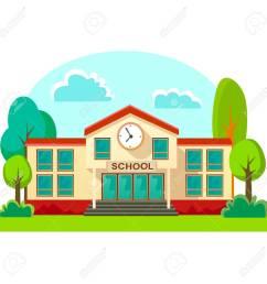 modern school buildings exterior student city concept elementary school facade urban street background  [ 1300 x 1300 Pixel ]