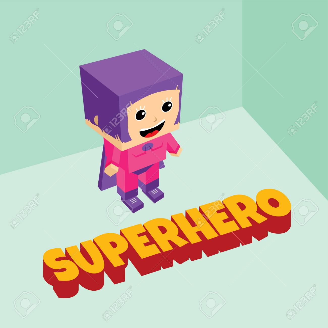 amazing female superhero isometric