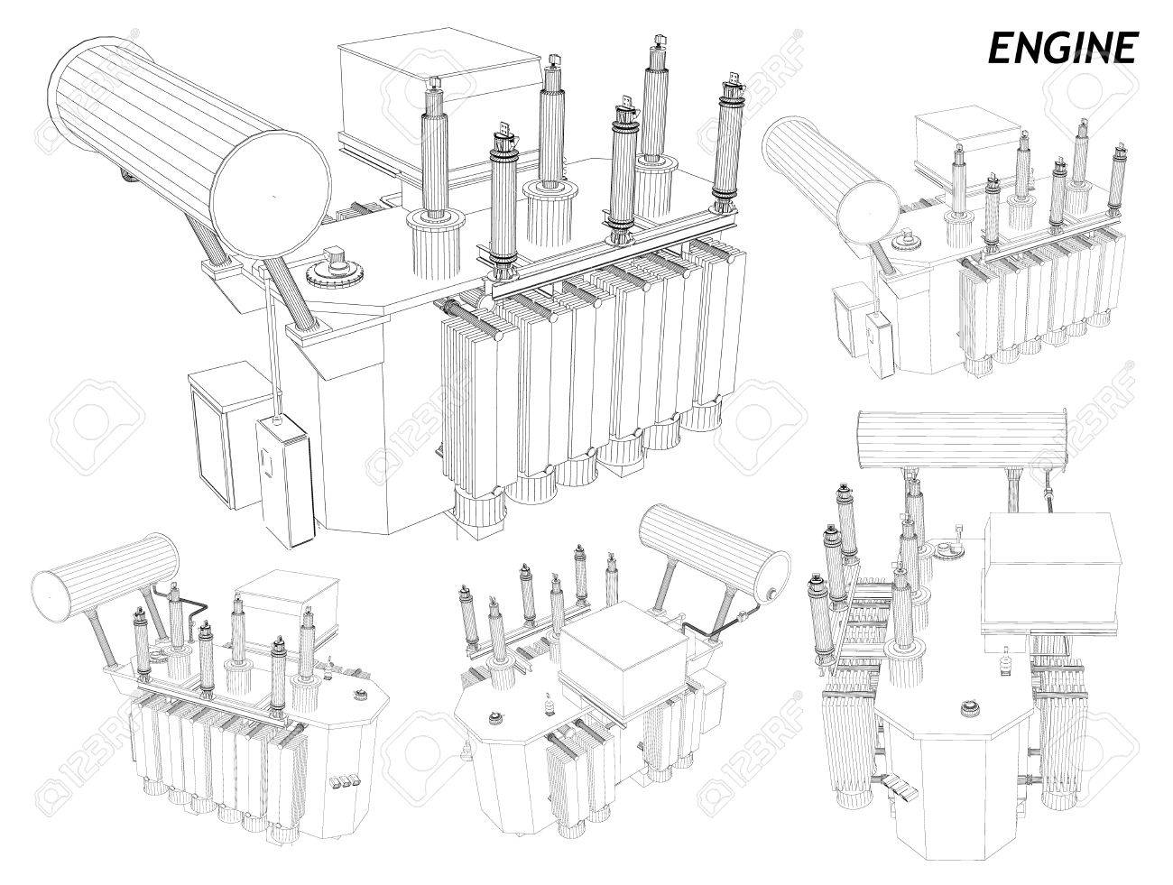 Car engine wireframe royalty free cliparts vectors and stock
