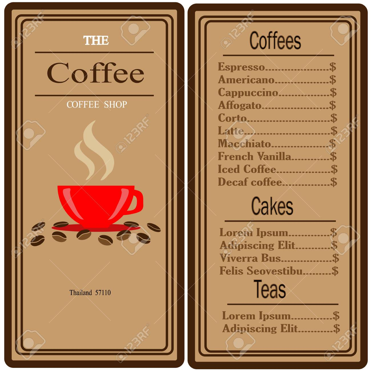 Coffee shop inventory includes perishables such as coffee, sweeteners and flavorings and serving items like cups, lids and sleeves. Coffee Shop Logo And Menu Design Vector Brochure Template Coffee Cup Silhouette Royalty Free Cliparts Vectors And Stock Illustration Image 104220536