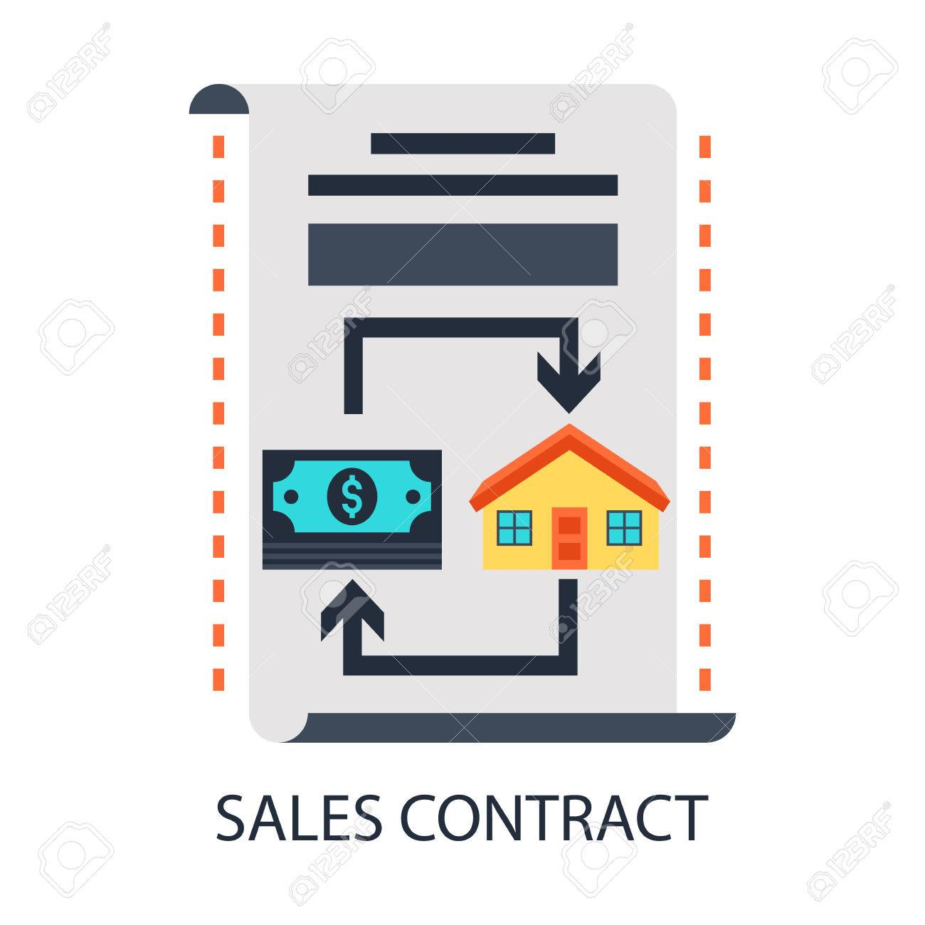 A Sales Contract,money And A House Stock Vector - 53804658