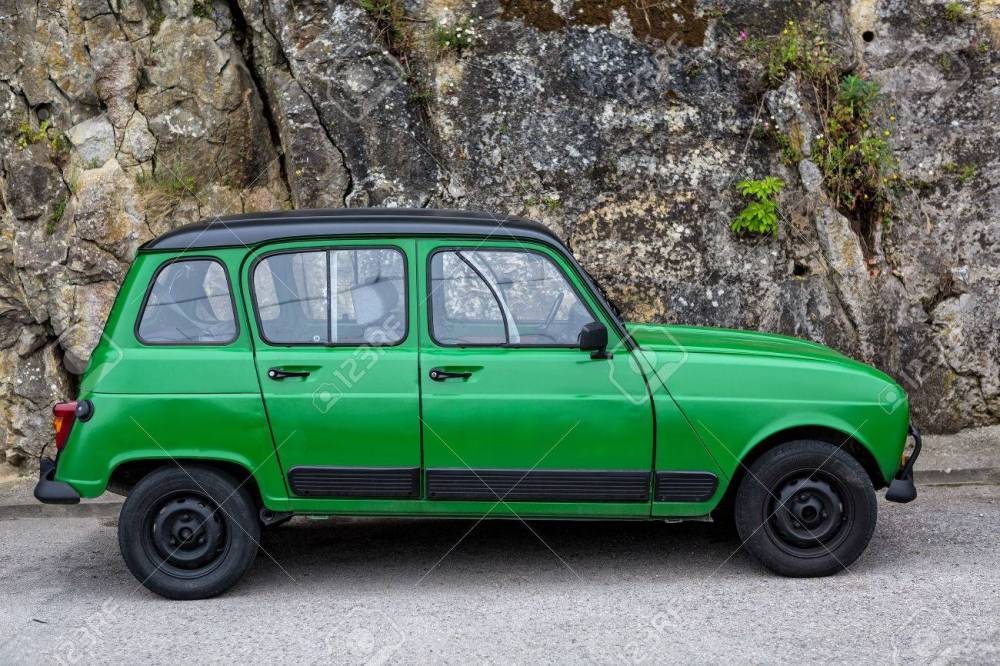 medium resolution of old green classic renault 4 standing on the street stock photo 64781181