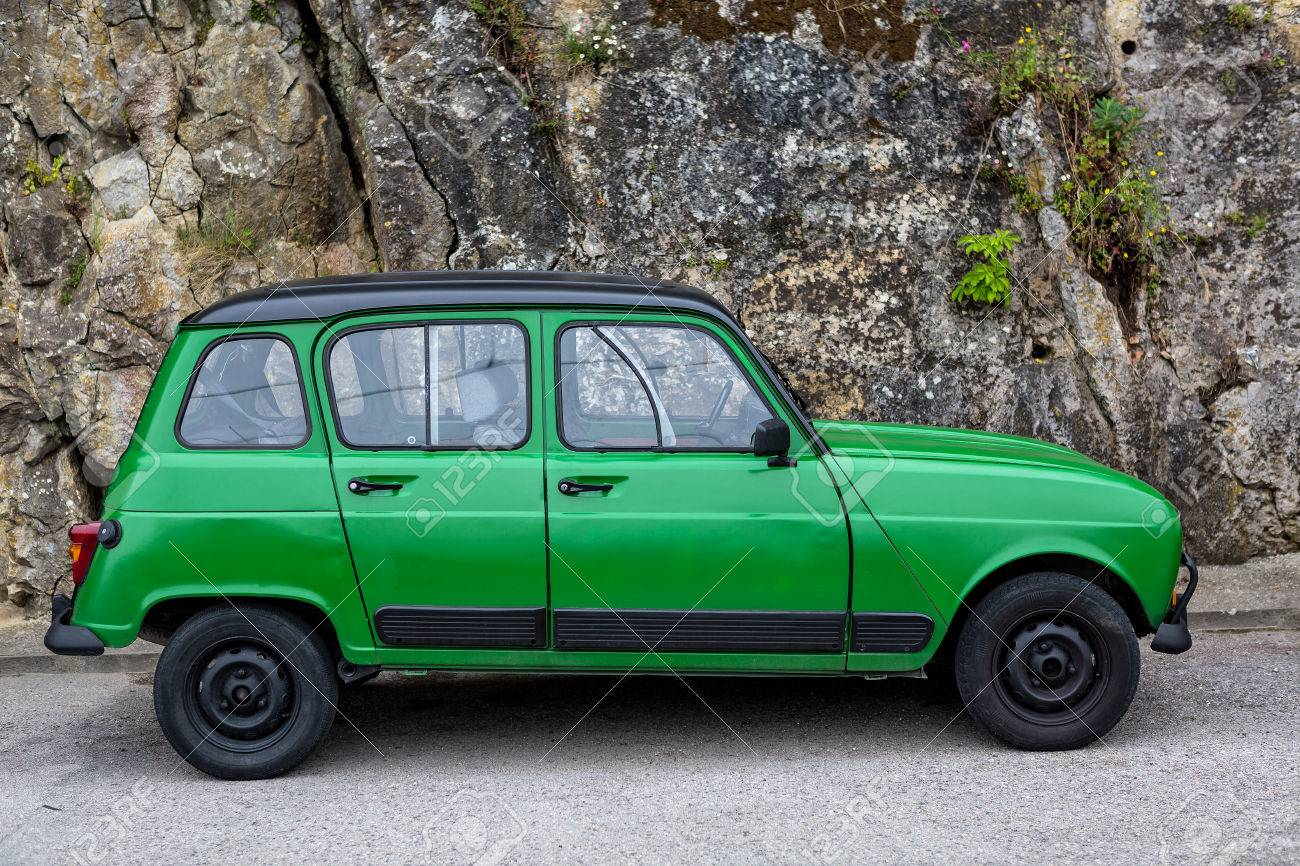 hight resolution of old green classic renault 4 standing on the street stock photo 64781181
