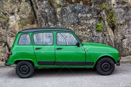 small resolution of old green classic renault 4 standing on the street stock photo 64781181