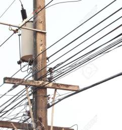electric pole connect to the high voltage electric wires on blue sky background stock photo [ 1300 x 866 Pixel ]