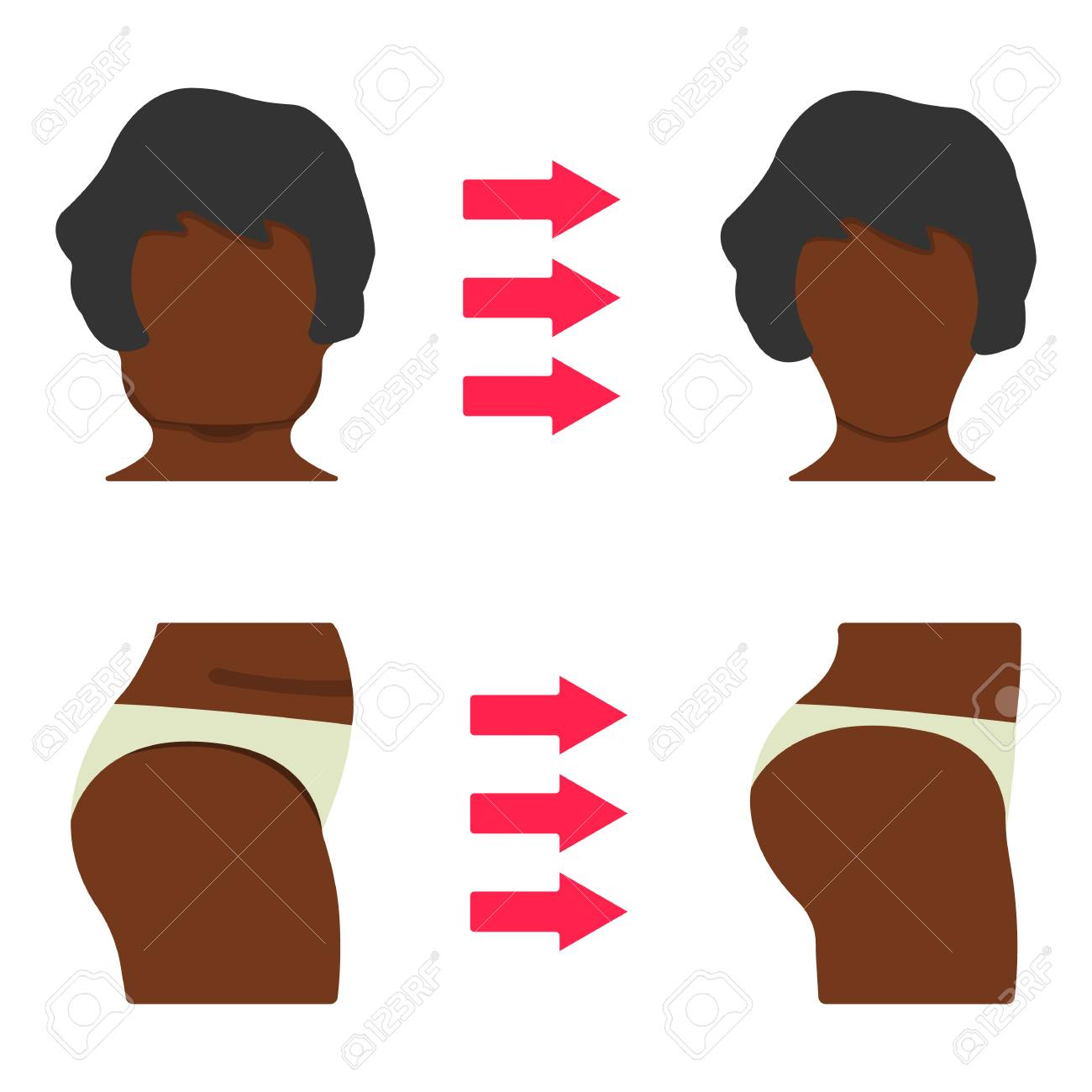 hight resolution of set of black woman body part fat and sporty body icon vector illustration label