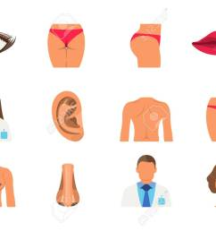 surgery set of woman body part sporty body icon vector illustration label stock [ 1300 x 928 Pixel ]