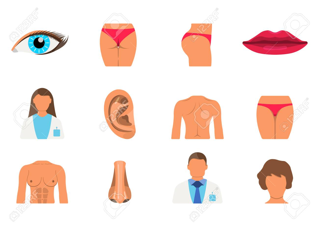 hight resolution of surgery set of woman body part sporty body icon vector illustration label stock