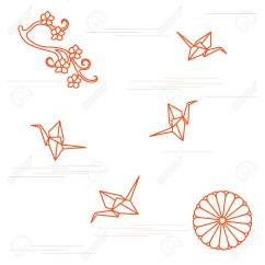 Origami Paper Crane Diagram Wiring Diagrams For Lights Branch Of Cherry Blossoms Sixteen Petal Chrysanthemum And Cranes Set Japan