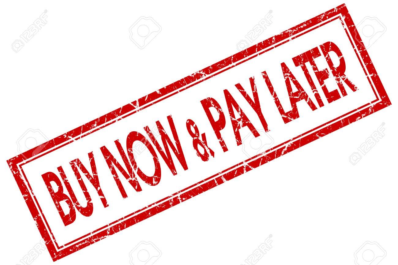 acheter maintenant payer plus tard timbre carre rouge isole sur fond blanc banque d images
