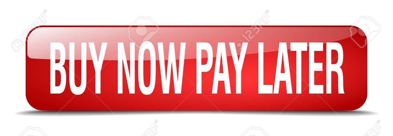 acheter maintenant payer plus tard carre rouge 3d realiste bouton web isole banque d images