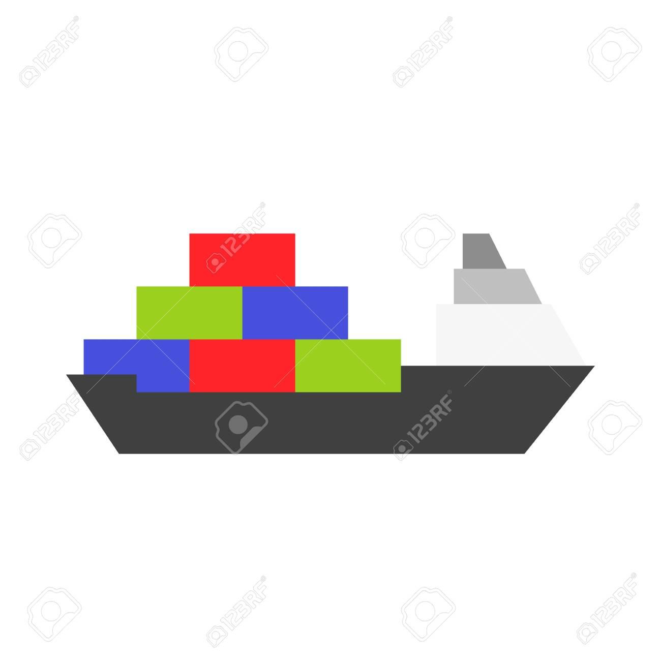hight resolution of cargo ship vector illustration watercraft flat design icon stock vector 114298398