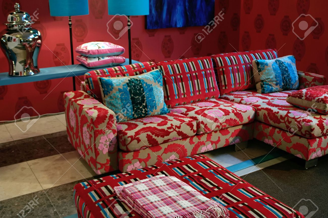 kitschy living room ideas with black furniture design of in bright kitsch style stock photo picture 855798