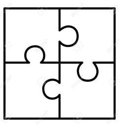 four piece puzzle diagram illustration [ 1300 x 1300 Pixel ]