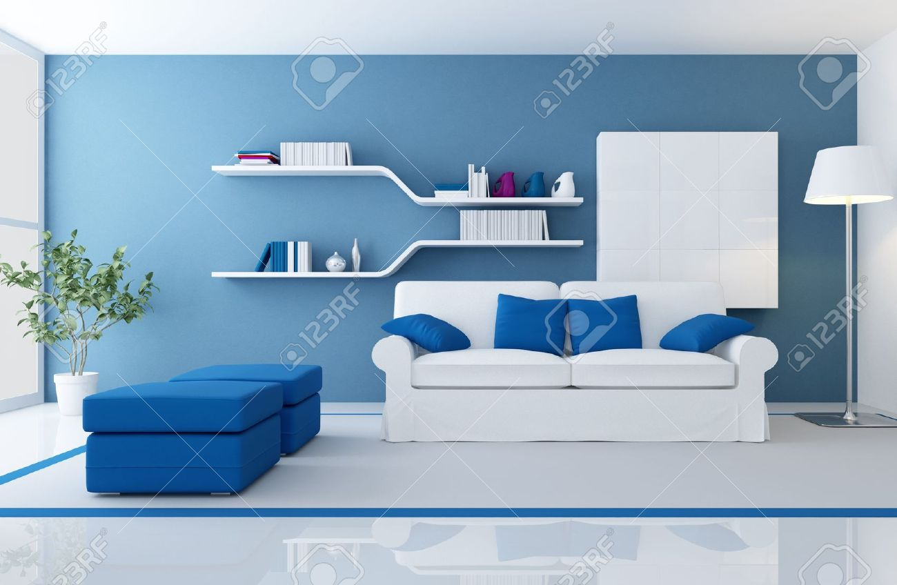 blue modern living room leather furniture raymour and flanigan white couch in a rendering stock photo
