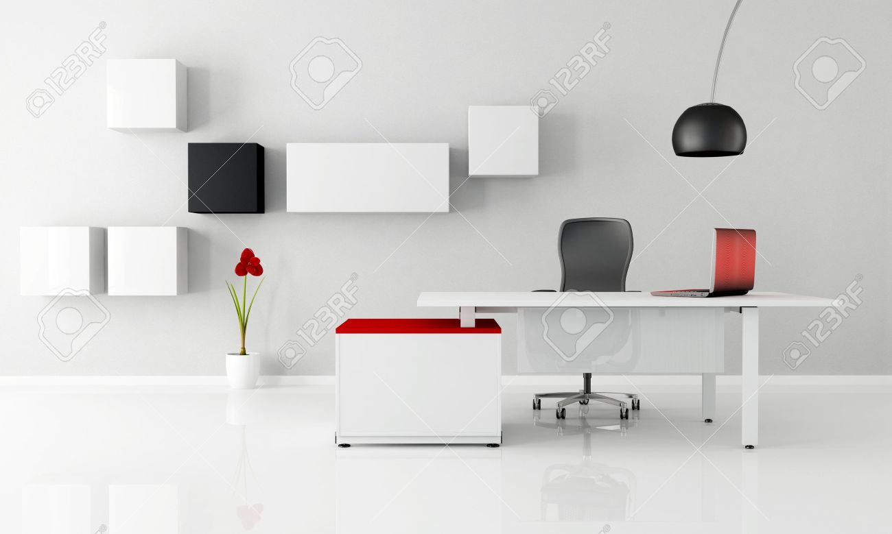 minimalist office with white