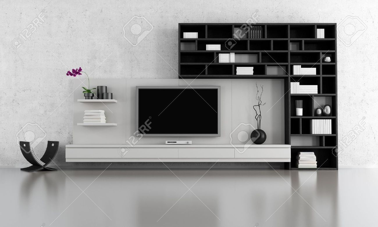 tv stand living room shower curtain in black and white with bookcase rendering stock photo 15460452