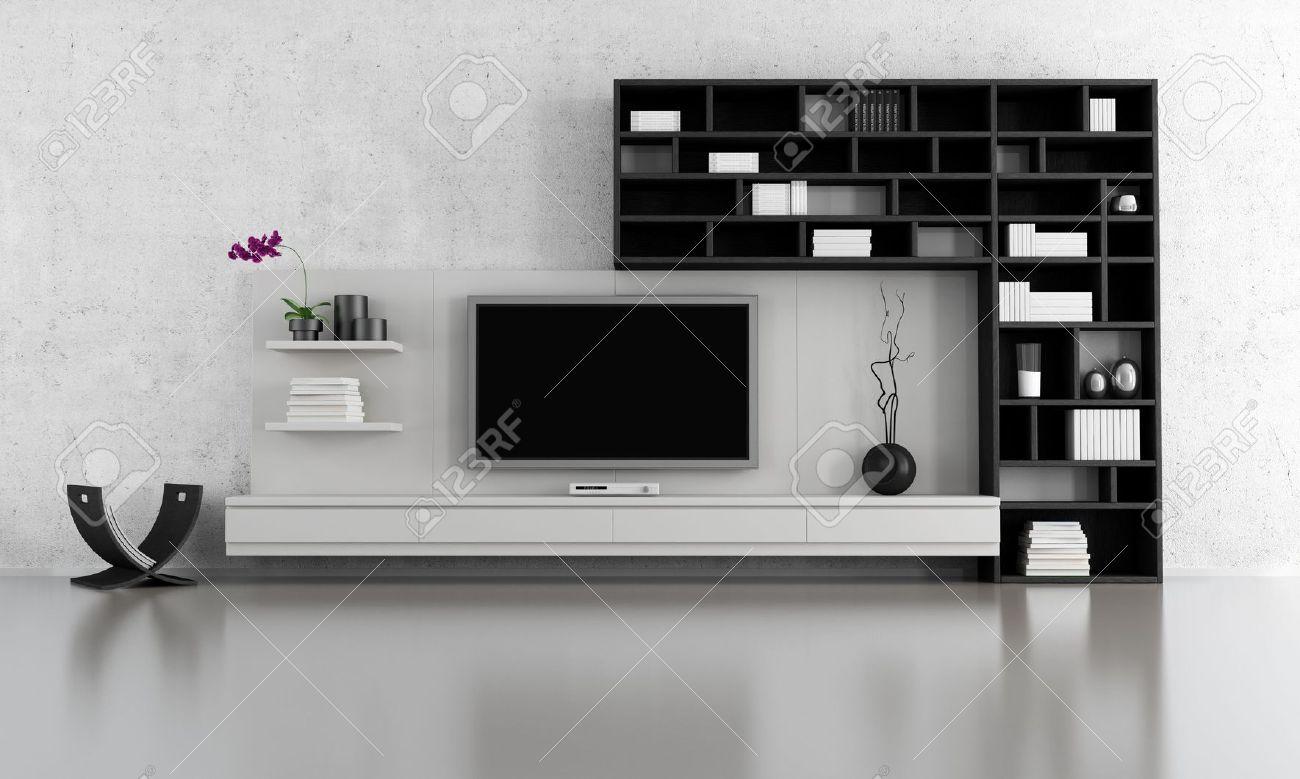 salon noir et blanc avec meuble tv et bibliotheque rendu