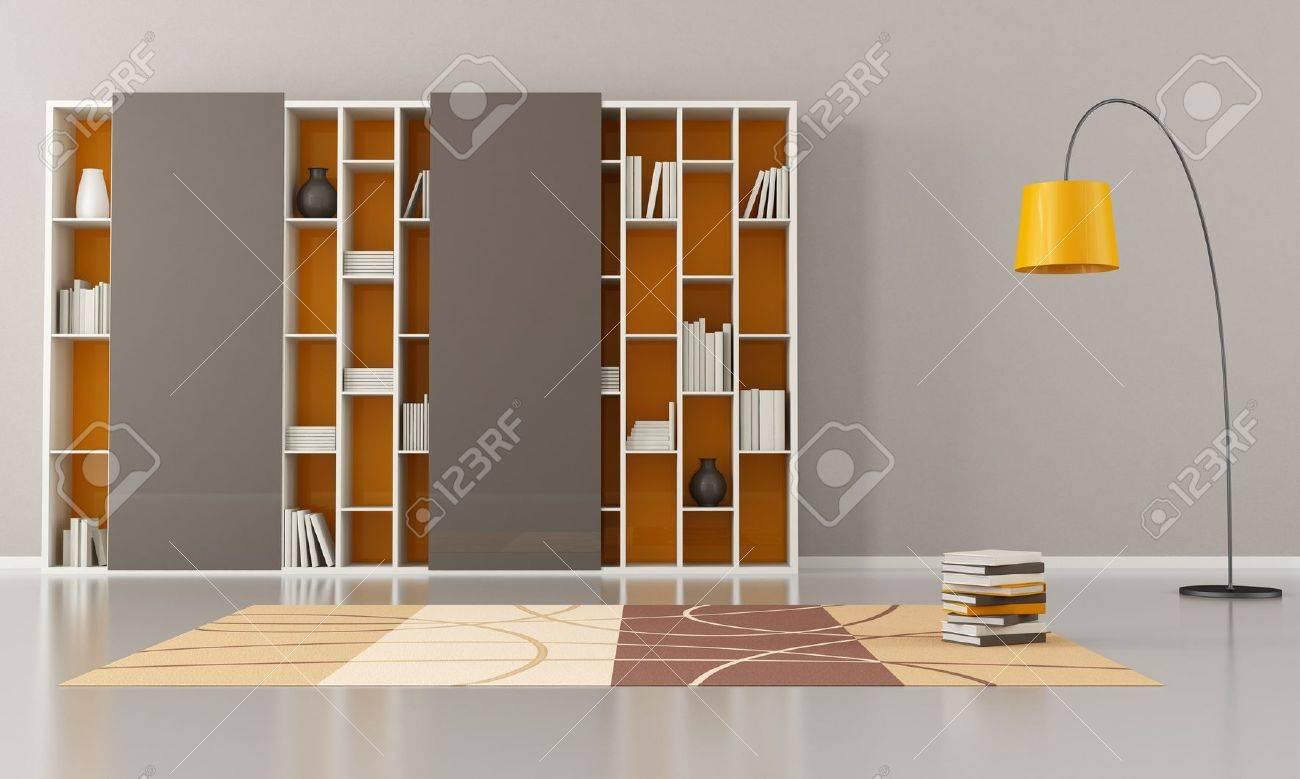 salon vide avec bibliotheque avec portes coulissantes rendu