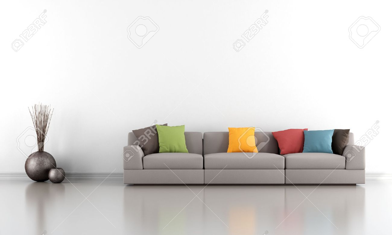 wall sofa bed cheap sydney minimalist living room with white and colorful rendering stock photo 25917487