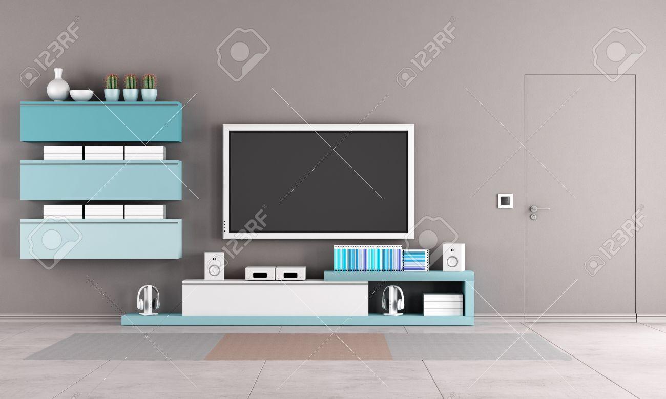 salon colore avec meuble tv armoire et fermer la porte