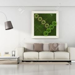 Frames For Living Room Walls Images Of Rooms With Fireplaces Minimalist Vertical Garden In Frame On Wall Stock 3d Rendering Photo