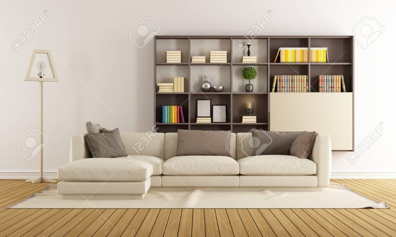salon contemporain avec canape et bibliotheque moderne rendu 3d