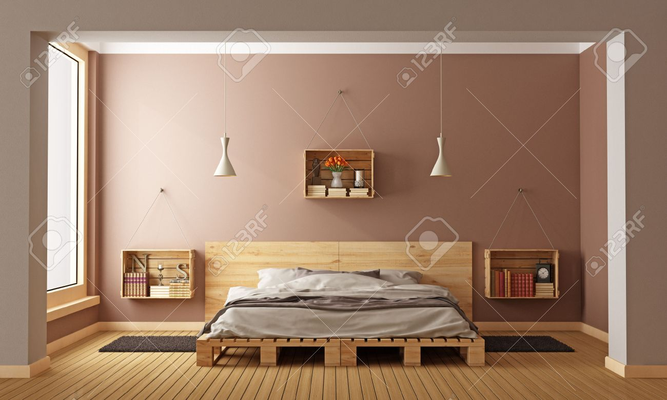 bedroom with pallet bed and wooden crates used as nightstands