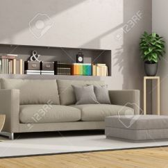 Living Room Footstool Idea To Decorate Modern With Sofa And Niche Books Stock Objects 3d Rendering