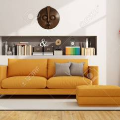Living Room Footstool Ceiling Designs For Small 2016 Contemporary With Sofa And Niche Stock Books Objects 3d Rendering