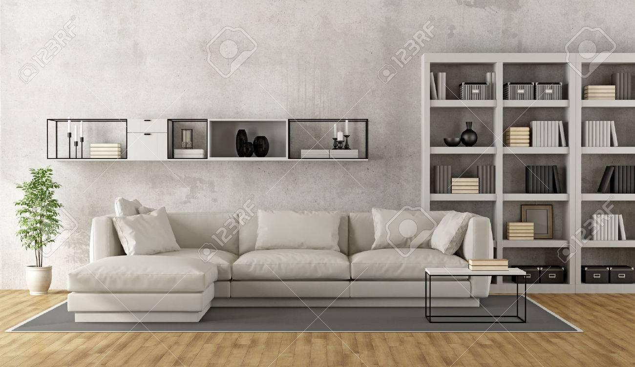contemporary white living room furniture small decoration in india with sofa bookcase and sideboard on concrete wall 3d rendering