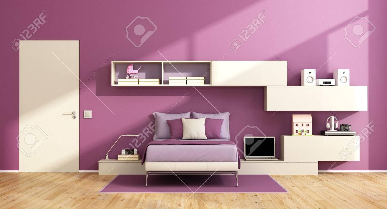 chambre pour ados avec unite murale sur mur violet et lit moderne rendu 3d